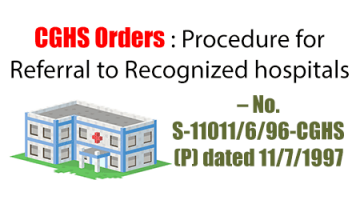 CGHS Orders : Procedure for Referral to Recognized hospitals – No. S-11011/6/96-CGHS (P) dated 11/7/1997