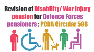 Revision of Disability/ War Injury pension for Defence Forces pensioners : PCDA Circular 596